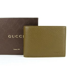 Gucci Olive Green Leather Bi-fold Wallet with Logo Imprint 292534 2402