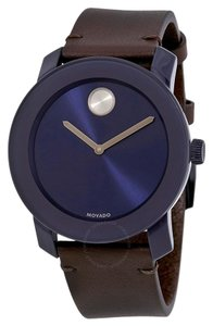 Movado Bold Sunray Dial Leather Strap Mens 3600461