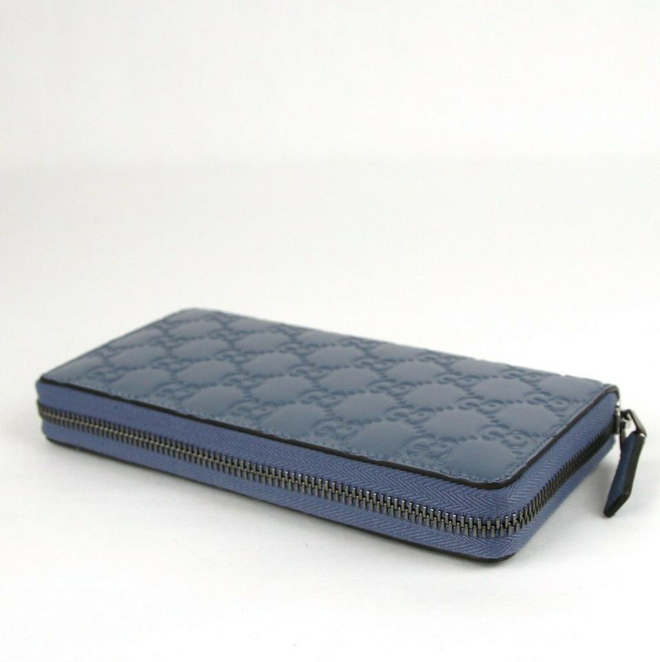 on sale 07b5e 35a3b Gucci Blue Periwinkle Guccissima Leather Zip Around 307987 4710 Wallet 38%  off retail