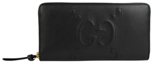 Gucci Apollo Black Leather Embossed GG Zip Around Wallet 453393 1000
