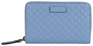 Gucci Light Blue Microguccissima Leather Zip Around Wallet 449423 4503