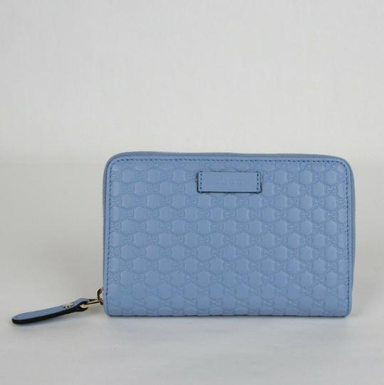 Gucci Light Blue Microguccissima Leather Zip Around Wallet 449423 4503 Image 1