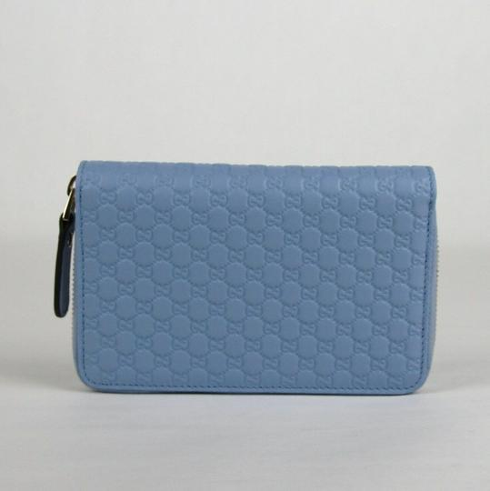 Gucci Light Blue Microguccissima Leather Zip Around Wallet 449423 4503 Image 2