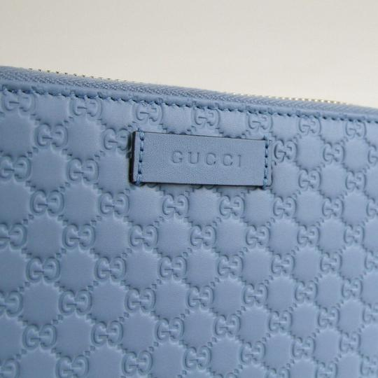 Gucci Light Blue Microguccissima Leather Zip Around Wallet 449423 4503 Image 3