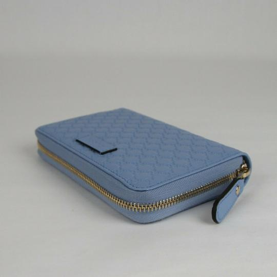 Gucci Light Blue Microguccissima Leather Zip Around Wallet 449423 4503 Image 5