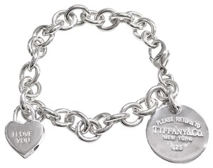 "Tiffany & Co. GORGEOUS!! GREAT CONDITION!! Tiffany & Co. Return to Tiffany Circle Charm and ""I Love You"" Padlock Charm Bracelet"