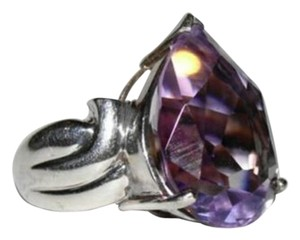sterling silver Retro Purple Amethyst Pear Cocktail Ring