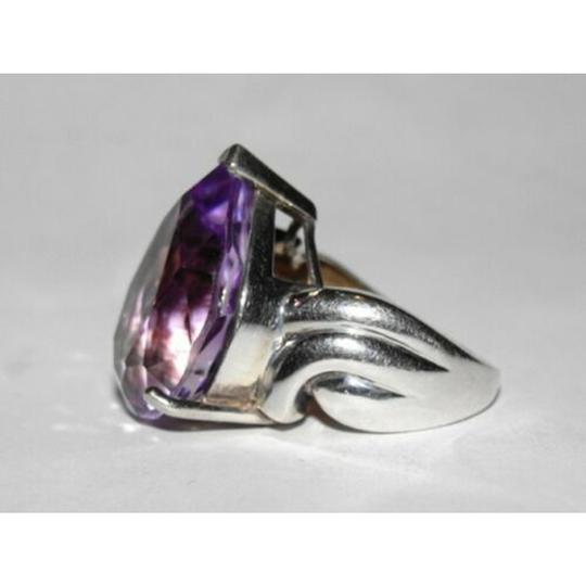 sterling silver Retro Purple Amethyst Pear Cocktail Ring Image 1
