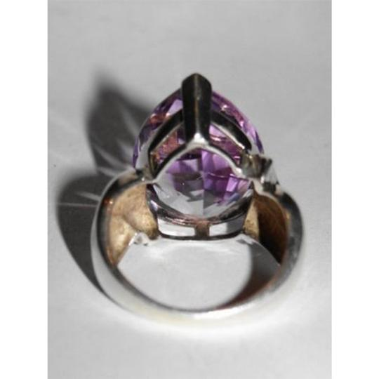 sterling silver Retro Purple Amethyst Pear Cocktail Ring Image 2