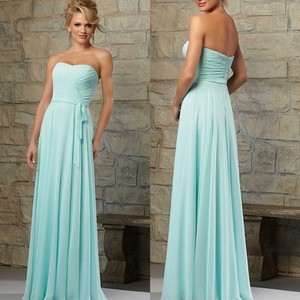 Mori Lee Mint Chiffon Style Number: 21565 Traditional Bridesmaid/Mob Dress Size 2 (XS)