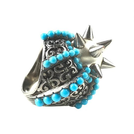 Gucci NEGUCCI Center Glass Pearl with Spikes and Beads Metal Ring, Sz. 6.5US Image 6