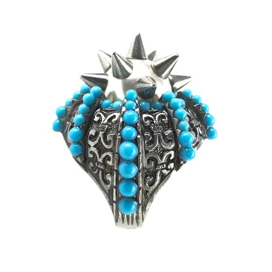 Gucci NEGUCCI Center Glass Pearl with Spikes and Beads Metal Ring, Sz. 6.5US Image 7