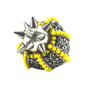 Gucci NEGUCCI Center Glass Pearl with Spikes and Beads Metal Ring, Sz. 6.5US