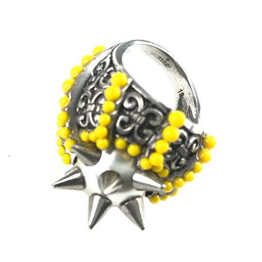 Gucci NEGUCCI Center Glass Pearl with Spikes and Beads Metal Ring, Sz. 6.5US Image 10