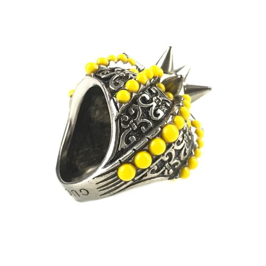 Gucci NEGUCCI Center Glass Pearl with Spikes and Beads Metal Ring, Sz. 6.5US Image 2