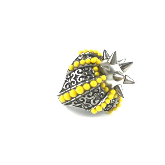 Gucci NEGUCCI Center Glass Pearl with Spikes and Beads Metal Ring, Sz. 6.5US Image 3