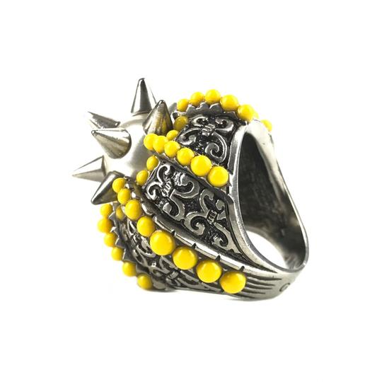 Gucci NEGUCCI Center Glass Pearl with Spikes and Beads Metal Ring, Sz. 6.5US Image 4