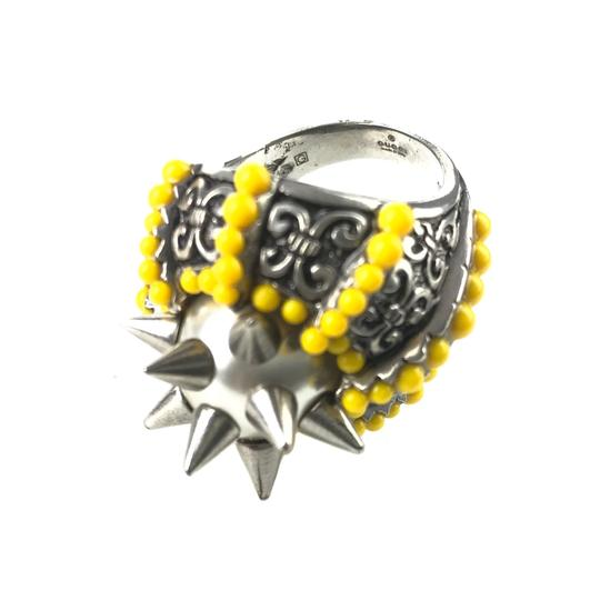 Gucci NEGUCCI Center Glass Pearl with Spikes and Beads Metal Ring, Sz. 6.5US Image 5