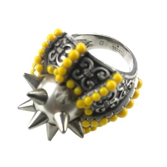 Gucci NEGUCCI Center Glass Pearl with Spikes and Beads Metal Ring, Sz. 6.5US Image 8
