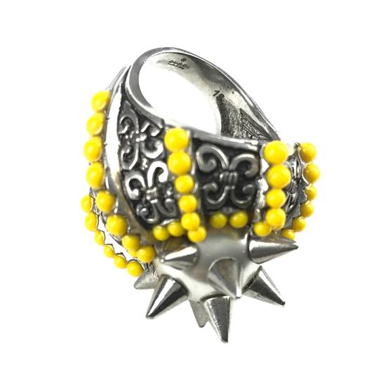 Gucci NEGUCCI Center Glass Pearl with Spikes and Beads Metal Ring, Sz. 6.5US Image 9