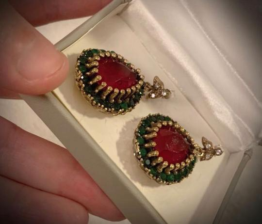 Royal Queen Collection Vintage Exquisite Feminine Red Ruby Emerald Solid Sterling Silver Earrings Image 1