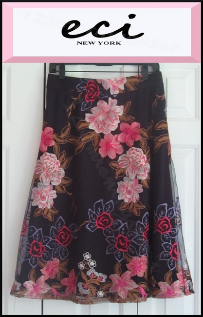 ECI New York Embroidered Florals Mesh Overlay A-line Silhouette Waistband/Back Zip Bright Colors Skirt Multi-Color Image 1