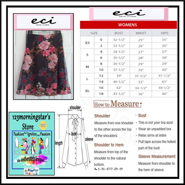 ECI New York Embroidered Florals Mesh Overlay A-line Silhouette Waistband/Back Zip Bright Colors Skirt Multi-Color Image 11