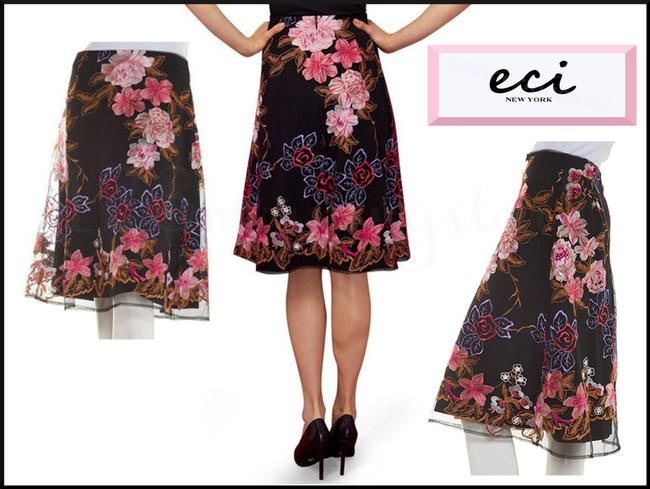 ECI New York Embroidered Florals Mesh Overlay A-line Silhouette Waistband/Back Zip Bright Colors Skirt Multi-Color Image 2