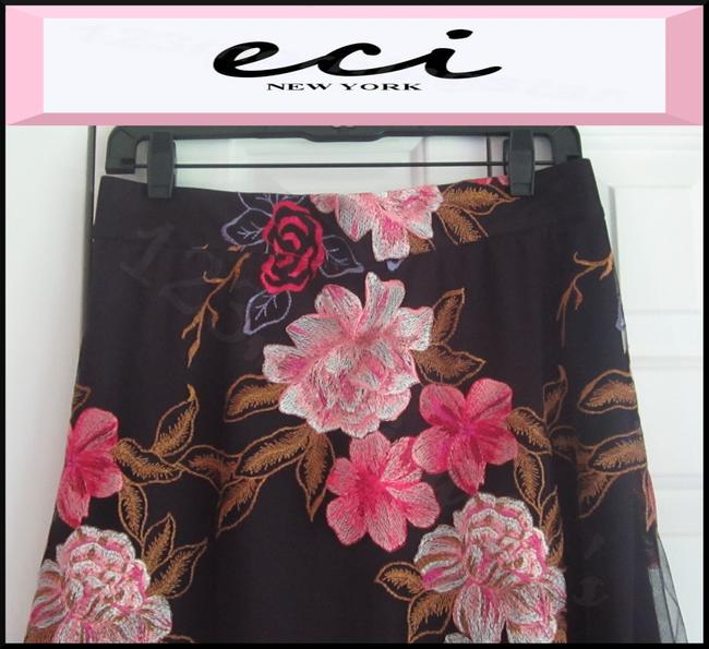ECI New York Embroidered Florals Mesh Overlay A-line Silhouette Waistband/Back Zip Bright Colors Skirt Multi-Color Image 3