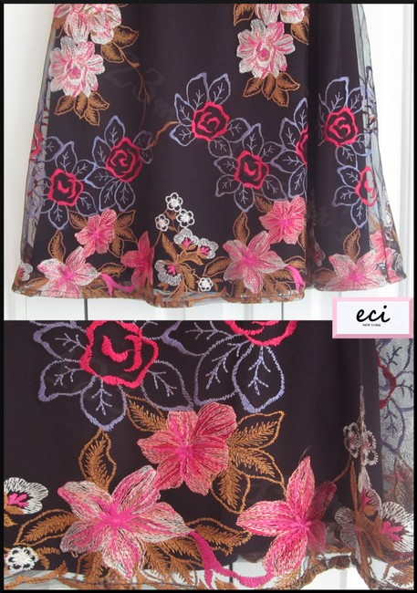 ECI New York Embroidered Florals Mesh Overlay A-line Silhouette Waistband/Back Zip Bright Colors Skirt Multi-Color Image 7