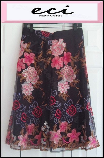 ECI New York Embroidered Florals Mesh Overlay A-line Silhouette Waistband/Back Zip Bright Colors Skirt Multi-Color Image 8