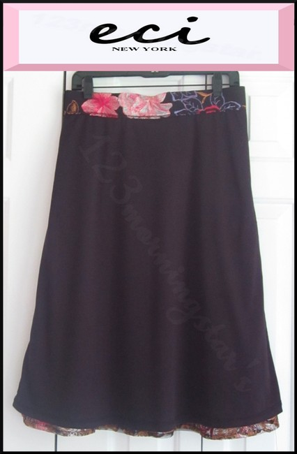 ECI New York Embroidered Florals Mesh Overlay A-line Silhouette Waistband/Back Zip Bright Colors Skirt Multi-Color Image 9