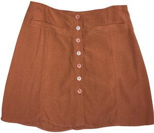 Reformation Boho Mini Summer Retro Fall Mini Skirt Brown