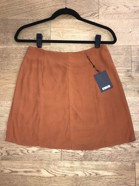 Reformation Boho Mini Summer Retro Fall Mini Skirt Brown Image 1