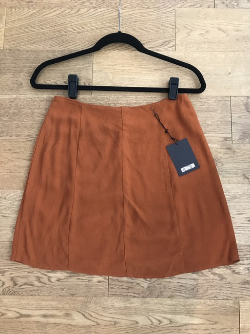 Reformation Boho Mini Summer Retro Fall Mini Skirt Brown Image 4