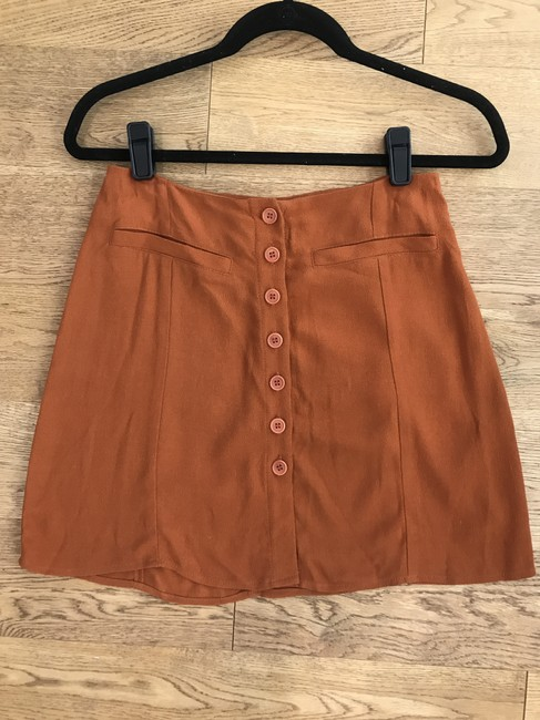 Reformation Boho Mini Summer Retro Fall Mini Skirt Brown Image 5