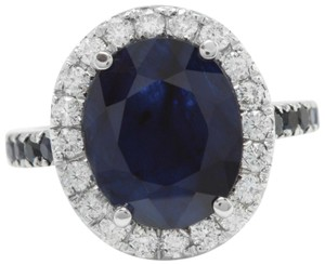 other 6.70CTW Natural Blue Sapphire and DIAMOND in 14K Solid White Gold Ring