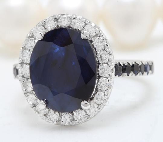 other 6.70CTW Natural Blue Sapphire and DIAMOND in 14K Solid White Gold Ring Image 1