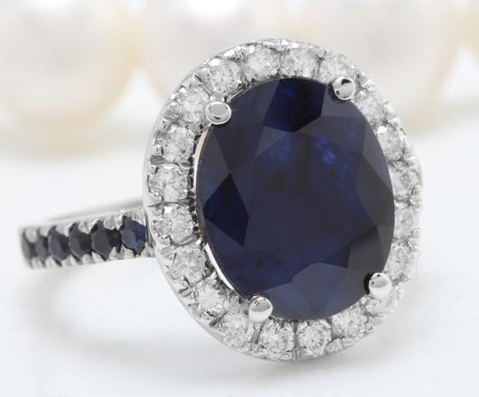 other 6.70CTW Natural Blue Sapphire and DIAMOND in 14K Solid White Gold Ring Image 2