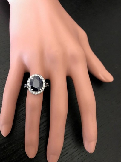 other 6.70CTW Natural Blue Sapphire and DIAMOND in 14K Solid White Gold Ring Image 3