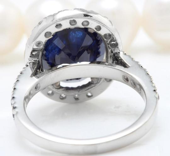 other 6.70CTW Natural Blue Sapphire and DIAMOND in 14K Solid White Gold Ring Image 4