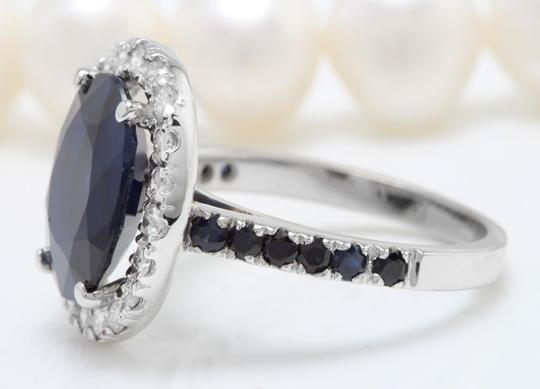 other 6.70CTW Natural Blue Sapphire and DIAMOND in 14K Solid White Gold Ring Image 5