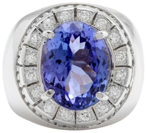 other 9.65CTW Natural Tanzanite and DIAMOND in 14K Solid White Gold Men Ring