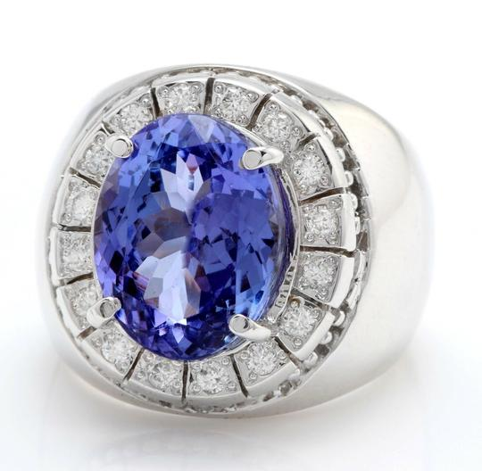 other 9.65CTW Natural Tanzanite and DIAMOND in 14K Solid White Gold Men Ring Image 1