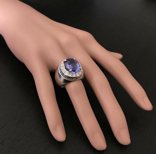 other 9.65CTW Natural Tanzanite and DIAMOND in 14K Solid White Gold Men Ring Image 2