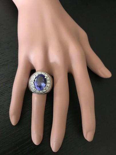 other 9.65CTW Natural Tanzanite and DIAMOND in 14K Solid White Gold Men Ring Image 5