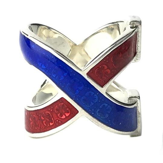Gucci NEW GUCCI Garden Sterling Silver Enamel Ring, Sz. 5US Image 2