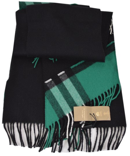 Burberry New Burberry Cashmere Patchwork Black Green Nova Check Scarf Image 1