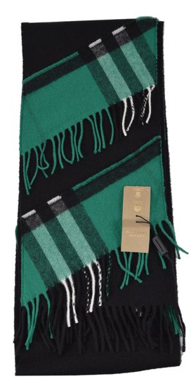 Burberry New Burberry Cashmere Patchwork Black Green Nova Check Scarf Image 4