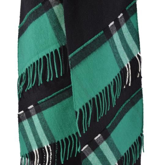 Burberry New Burberry Cashmere Patchwork Black Green Nova Check Scarf Image 7